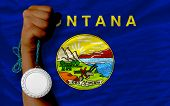 Silver Medal For Sport And  Flag Of American State Of Montana