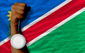 Silver Medal For Sport And  National Flag Of Namibia