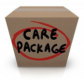 The words Care Package on a cardboard box to illustrate support, aid, assistance and emergency suppl