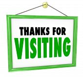 Thanks For Visiting hanging sign for a store to thank, appreciate and express a message of gratitude