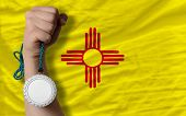 Silver Medal For Sport And  Flag Of American State Of New Mexico