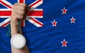 Silver Medal For Sport And  National Flag Of New Zealand