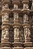 Detail Of Carving On A Temple In Khajuraho, Madhya Pradesh, India.