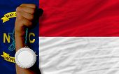 Silver Medal For Sport And  Flag Of American State Of North Carolina