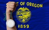 Silver Medal For Sport And  Flag Of American State Of Oregon