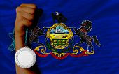 Silver Medal For Sport And  Flag Of American State Of Pennsylvania