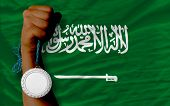 Silver Medal For Sport And  National Flag Of  Of Saudi Arabia