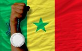Silver Medal For Sport And  National Flag Of Senegal