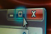 Extreme Closeup Of Mouse Cursor Over Maximize Button