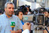 Equipo de reportero de TV