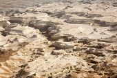 image of masada  - View to the Judean desert from Masada fortress Israel - JPG