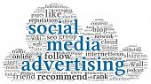 Social media advertising concept in word tag cloud of cloudscape shape