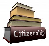 picture of citizenship  - Five thick old education books on pile - JPG