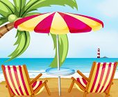 Illustration of a chair and an umbrella at the beach