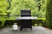 Outdoor Cooker With Lid In Open Position On Home Patio
