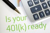 Focus on the investment in the 401K plan concept of finance and retirement