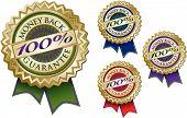 Set Of Four 100% Money Back Guarantee Emblem Seals