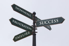 stock photo of road sign  - Directions road sign for success failure frustration and downfall - JPG