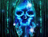 pic of spyware  - hacker attack background with skull digital illustration - JPG