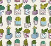 Cute Seamless Cactus Patter