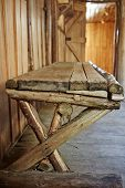 Wooden Bench Inside Old Hut