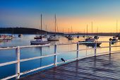 image of pontoon boat  - Boats yachts and catamarans bob and tug at their moorings at sunrise dreaming of places yet unvisited - JPG