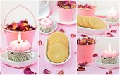 Delicate pink collage with shortbread. Valentine's Day.