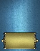 Blue background with gold name plate with gold ornate edges
