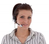 Young Caucasian Girl Working In The Call Center Isolated On White