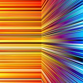 Abstract warped orange and blue stripes