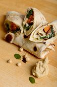 Tortilla wraps with hummus and vegetables