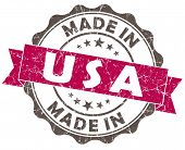 Made In Usa Pink Grunge Seal