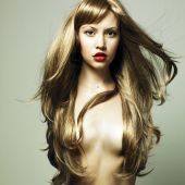 foto of beautiful woman  - Fashion photo of beautiful woman with magnificent hair - JPG