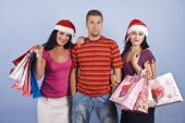 Shopping Friends With Christmas Bags