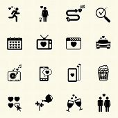 Valentine's Day and Love Icons. Vector icon set.