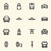 Vehicle and transportation icons. Vector icon set
