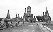 Wat Chaiwatthanaram Temple Black And White Style. Ayutthaya Historical Park, Thailand.