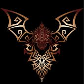 Golden dragon tribal or tattoo with black background
