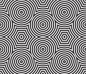 Black and White Psychedelic Circular Textile Pattern.