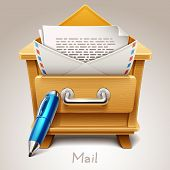 Wooden drawer illustration for mail icon