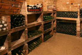 pic of wine cellar  - Very old bottles in big wine cellar - JPG