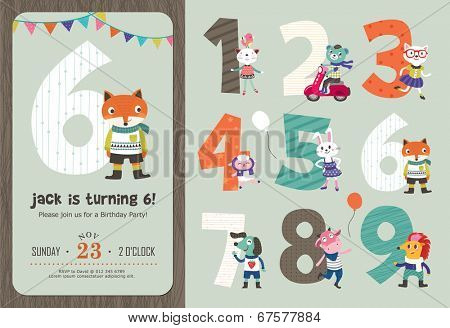 Birthday Anniversary Numbers with Cute Animals & Birthday Party Invitation Card Template poster