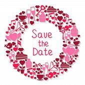 Save the Date romantic circular symbol