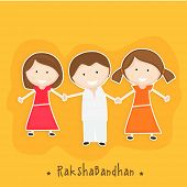 Happy little sisters holding their brother hand on yellow background for the festival of Happy Raksh