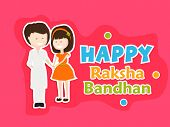Beautiful greeting card design with cute little girl tying rakhi on her brother hand on pink background for the festival of Raksha Bandhan celebrations.