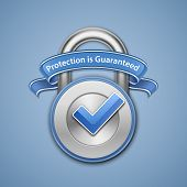 Protection is guaranteed sign. Security Concept. Vector illustration of metallic padlock with check