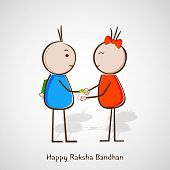 Happy Raksha Bandhan celebrations with cute little girl tying rakhi on her brother wrist on grey bac