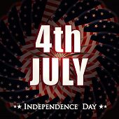 Glossy text 4th July on shiny national flag colors for 4th of July, American Independence Day celebr