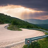 Road With A Sharp Bend In The Mountain