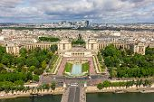 View Of Paris - River Seine, The Palais De Chaillot, La Defense From Eiffel Tower